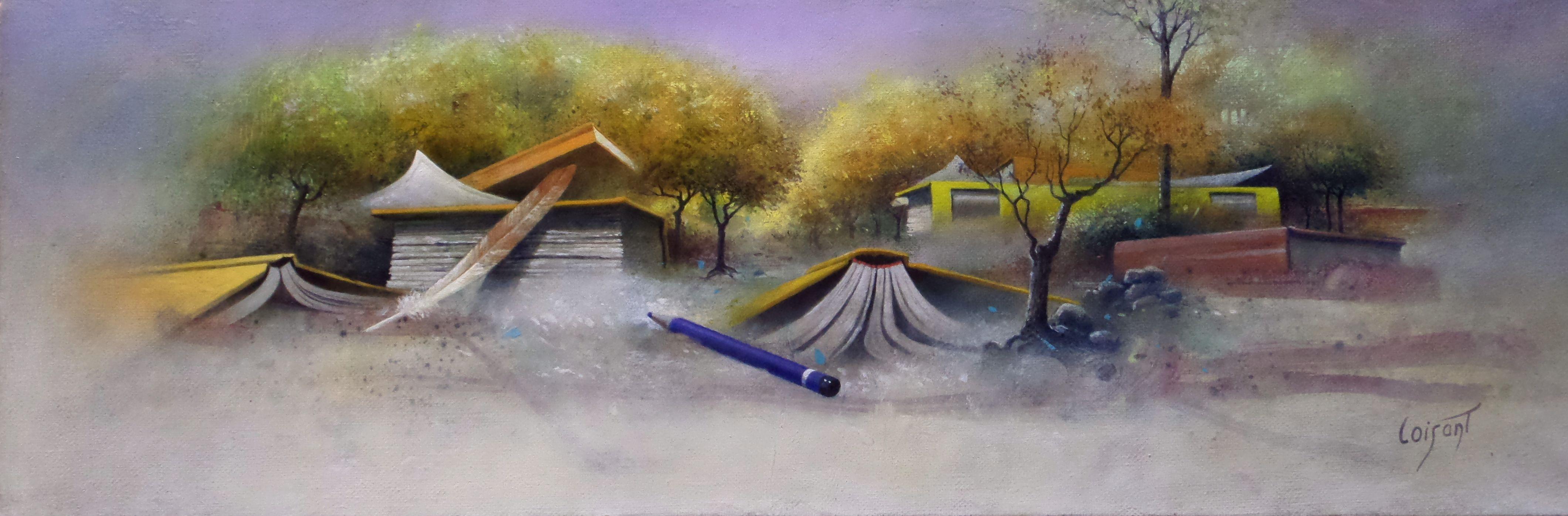 « Livres jaunes en forêt » 20 x 60 cm