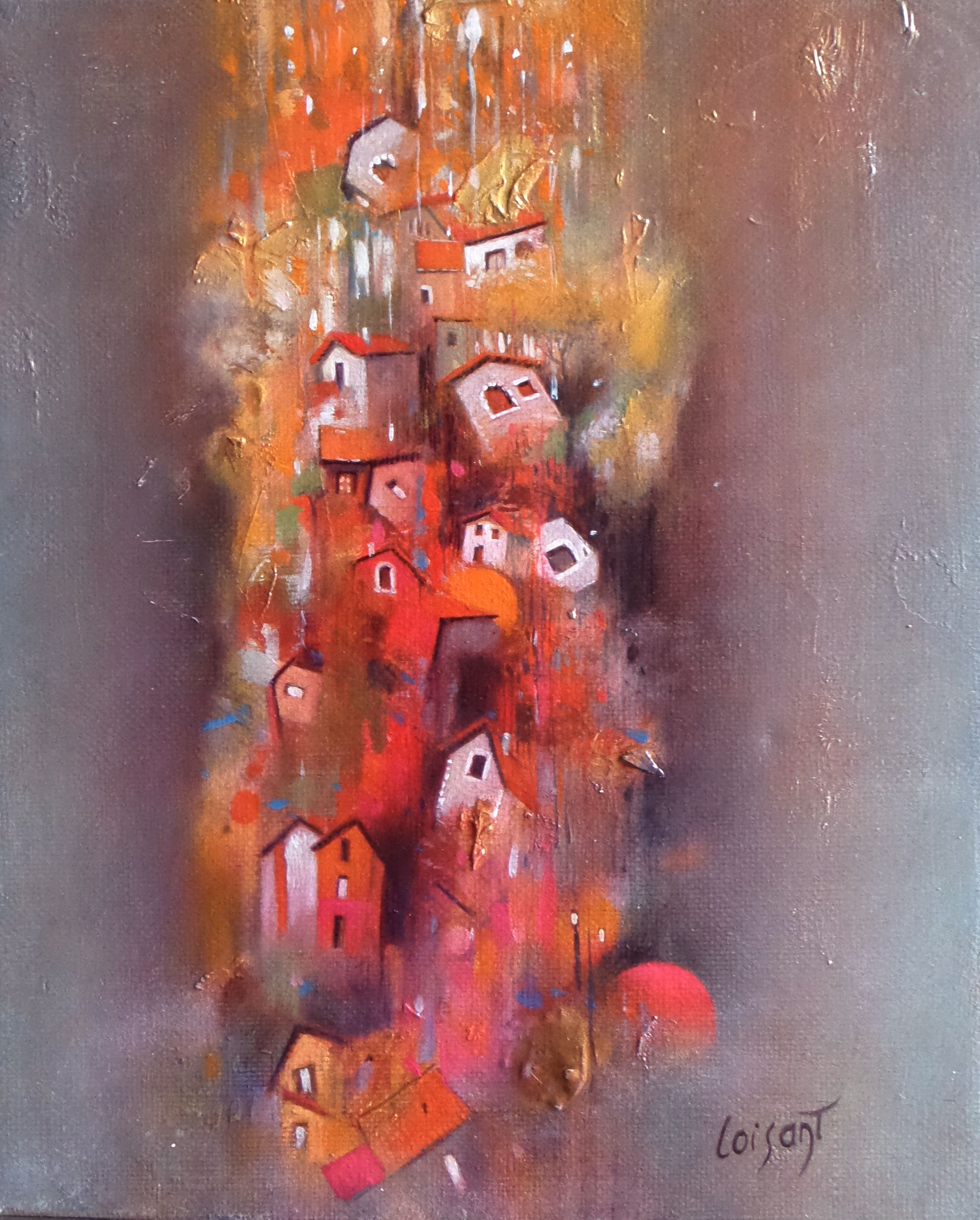 « Petit village heureux » 24 x 18 cm
