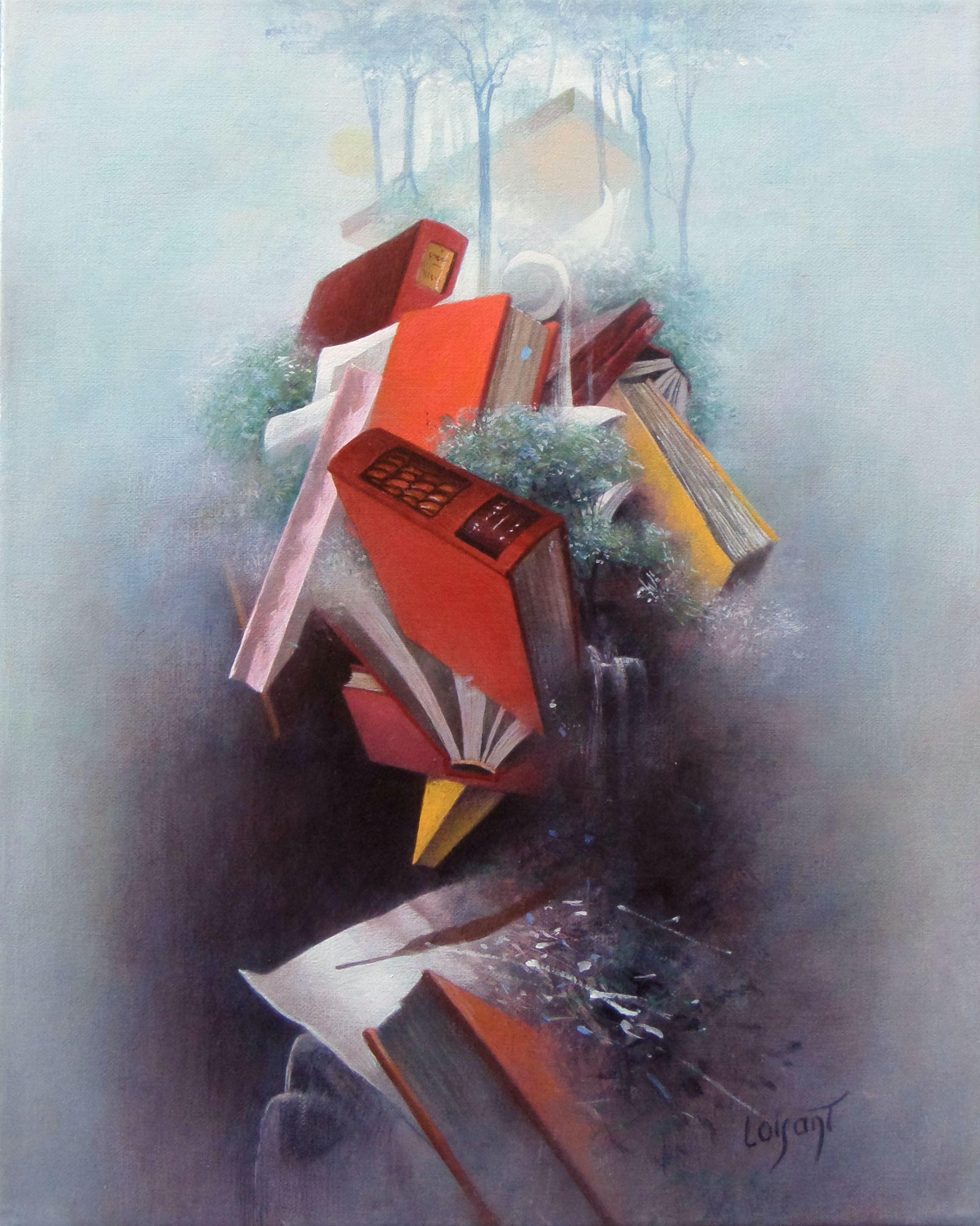 « Petite bibliothèque rouge » 42 x 34 cm