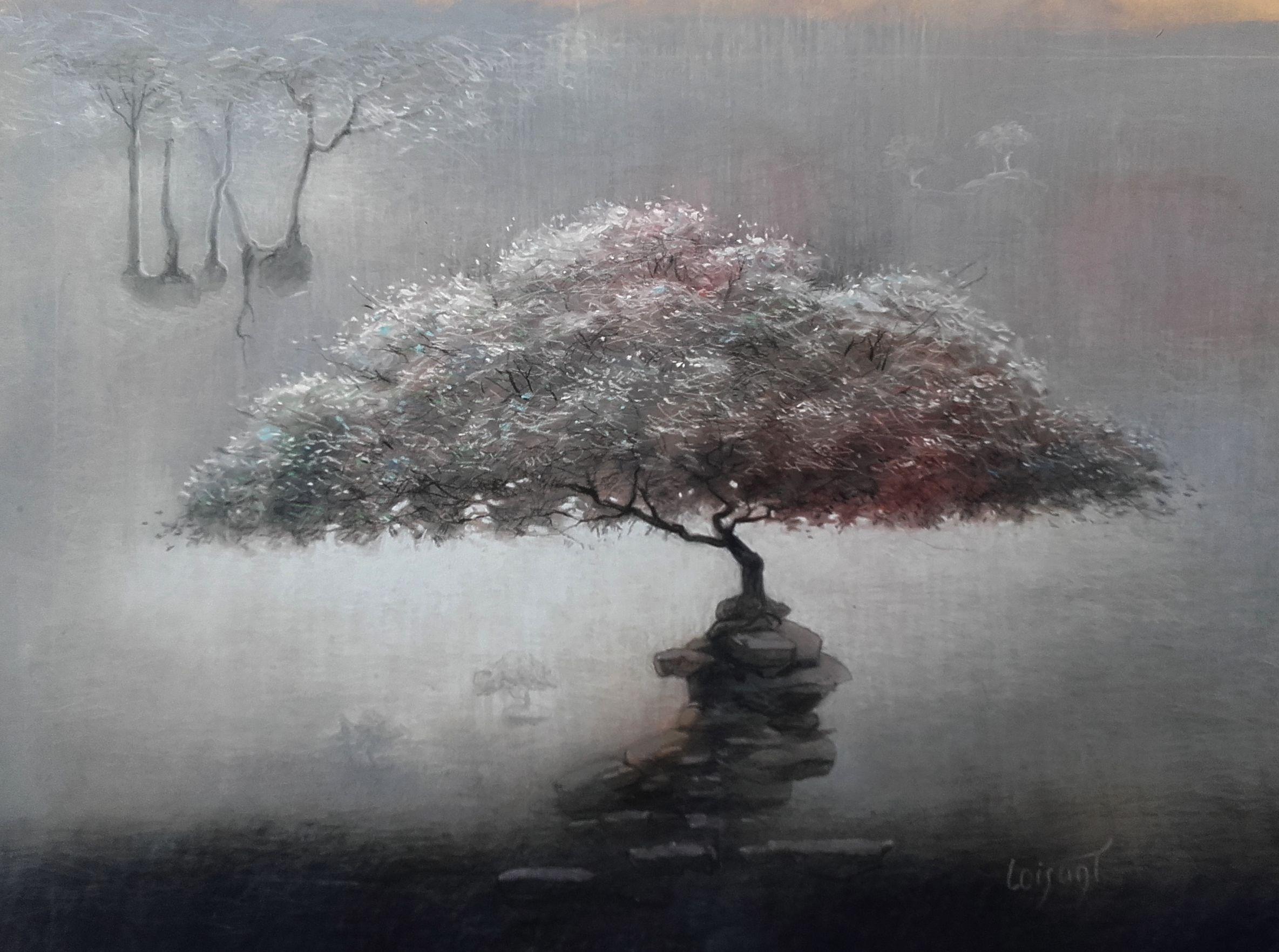 « Arbre sage et gris » 30 x 40 cm
