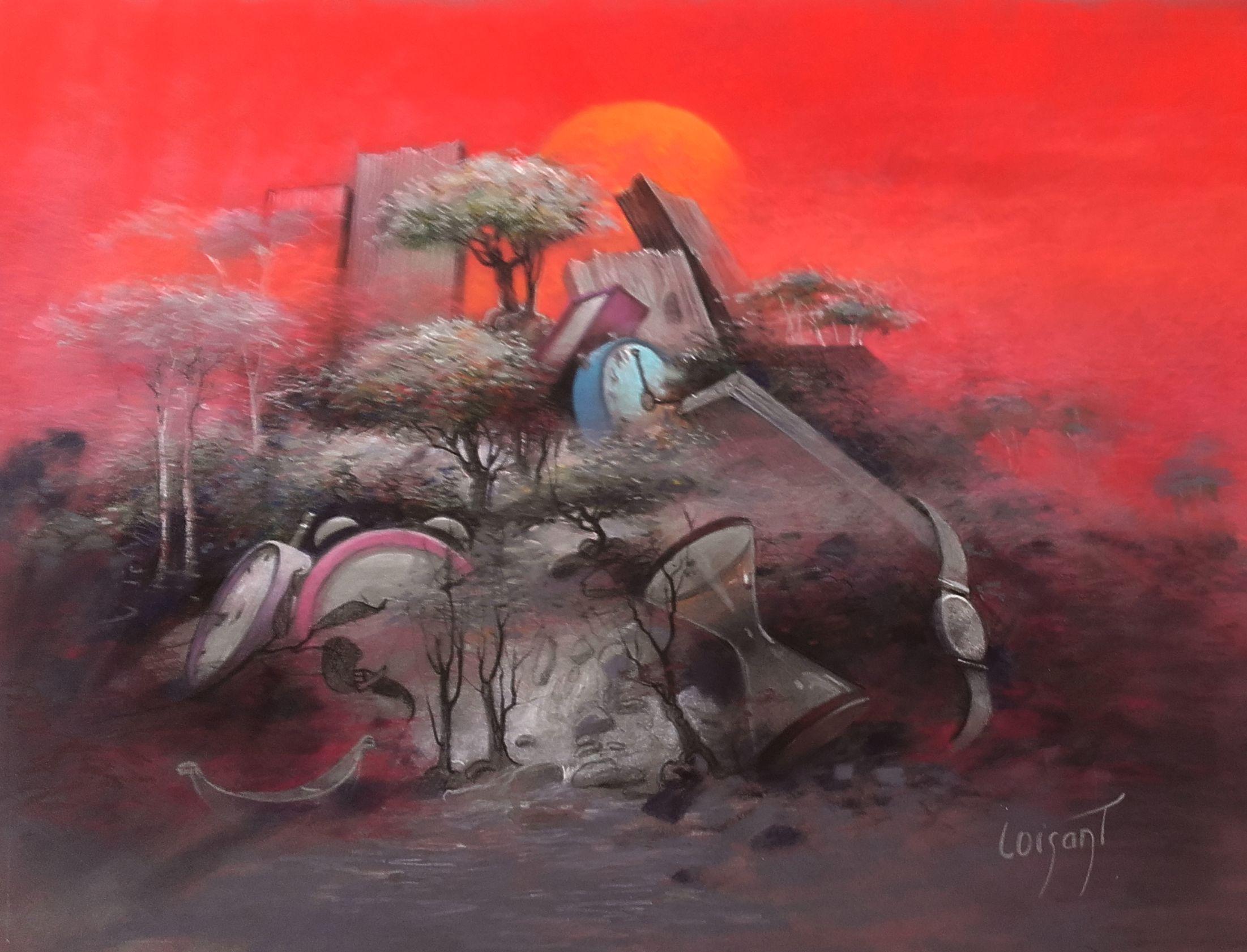 « Les temps rouges » 30 x 40 cm