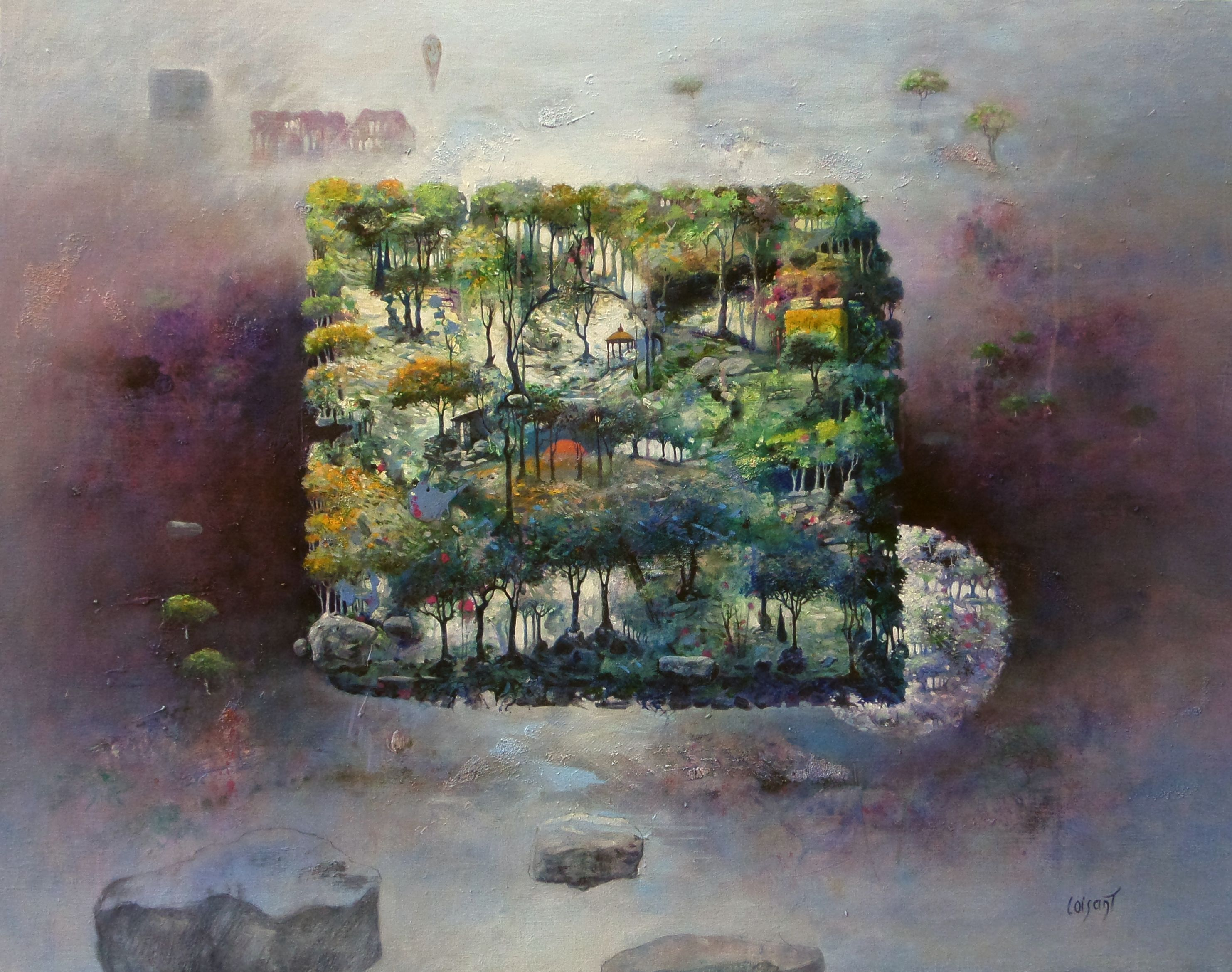« Forêt cubique au printemps » 93 x 72 cm
