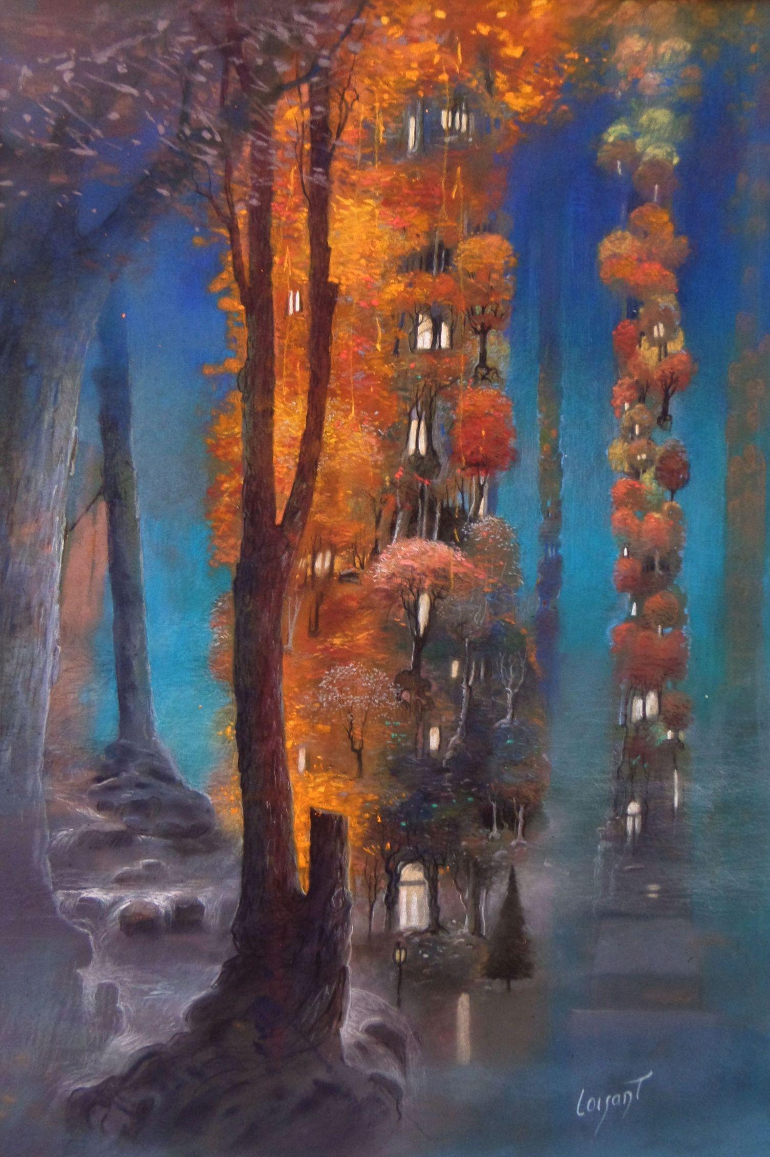 « Villages célestes verticaux » 50 x 40 cm