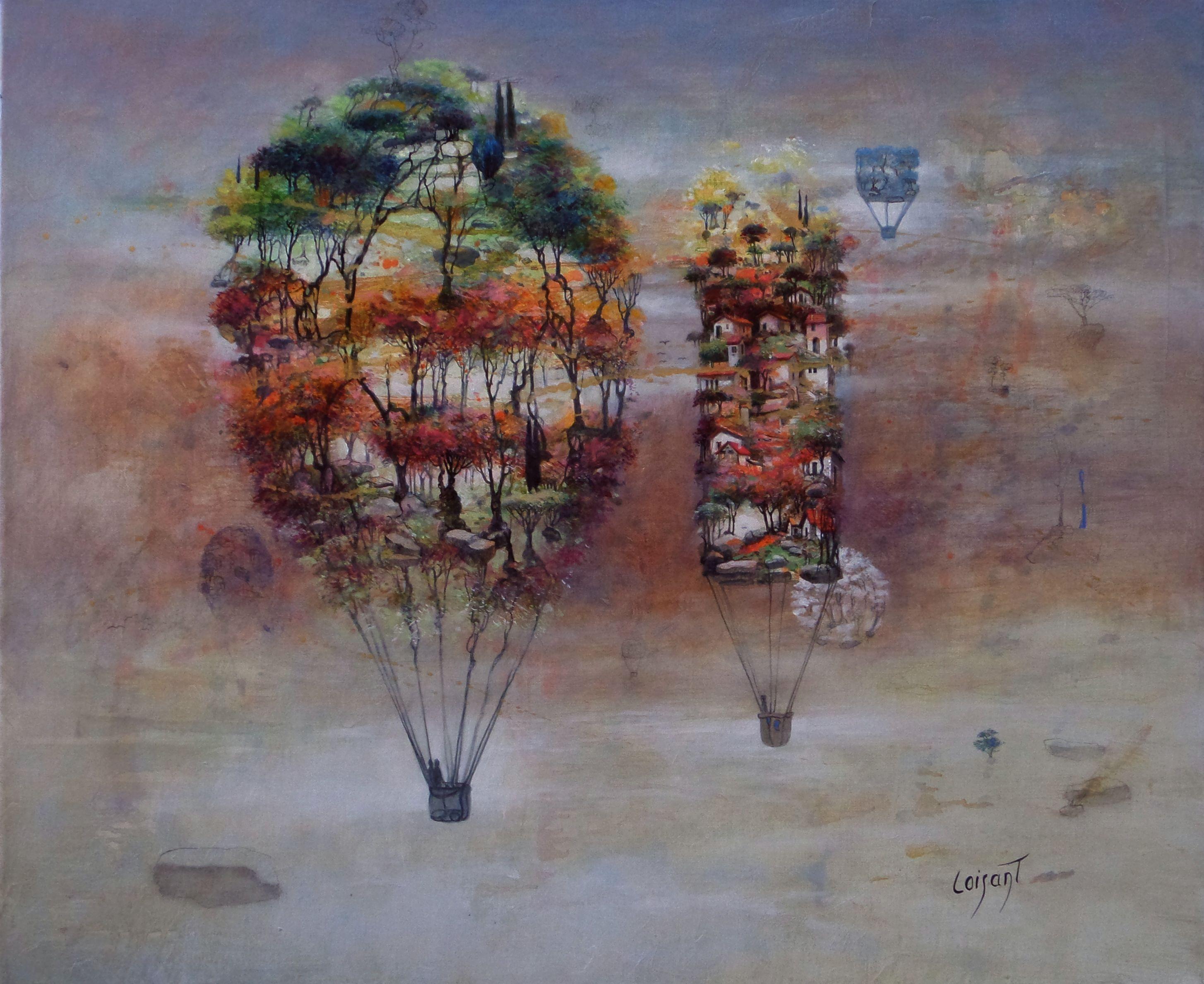 « Village et forêt » 54 x 65 cm