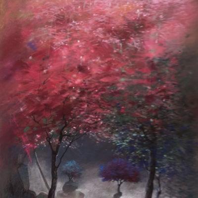 « La vallée et feuillage rose » pastel 30 x 40 cm