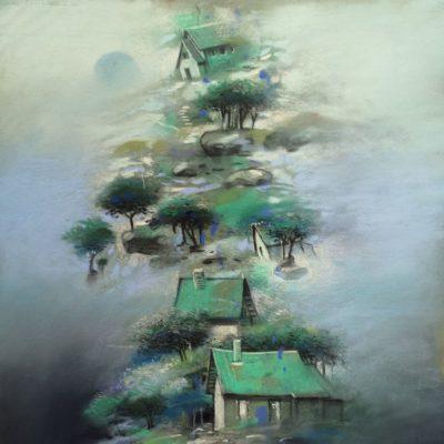 """""""Village vert"""" 30 x 20 cm"""